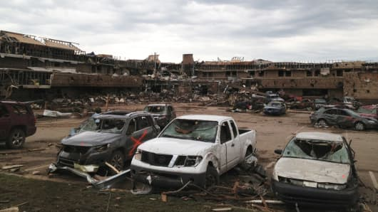 Debris and devastation laid in wake of a devastating tornado in Moore, Oklahoma.